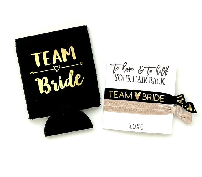 To have & to hold your hair back dream bride gift set, hair ties favors + can cooler