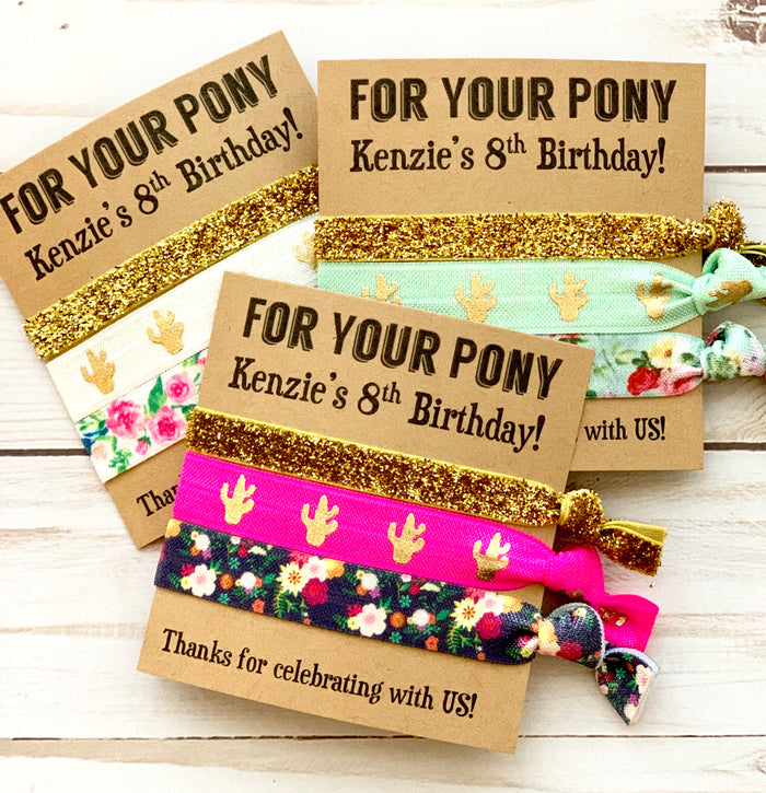 FOR YOUR PONY Girls Birthday Party Favors | Hair Tie Favor | Goody Bag | Kids Birthday