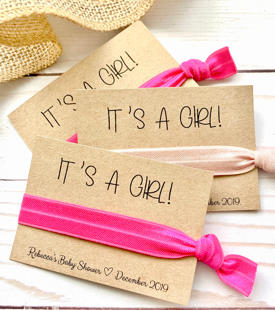 It's A Girl! | It's A Boy!| Baby Shower Hair Tie Favor, Unique Baby Shower Favors Girl, Boy