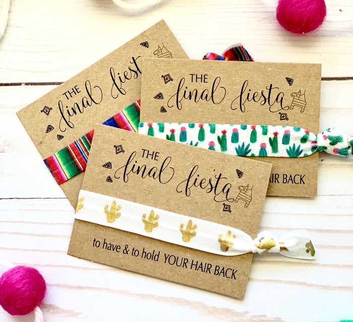 The FINAL FIESTA Hair Tie Favors | Bachelorette Mexican Blanket Party Favor Hair Ties, Mexican Bachelorette, Gold Cactus Boho Hair Ties