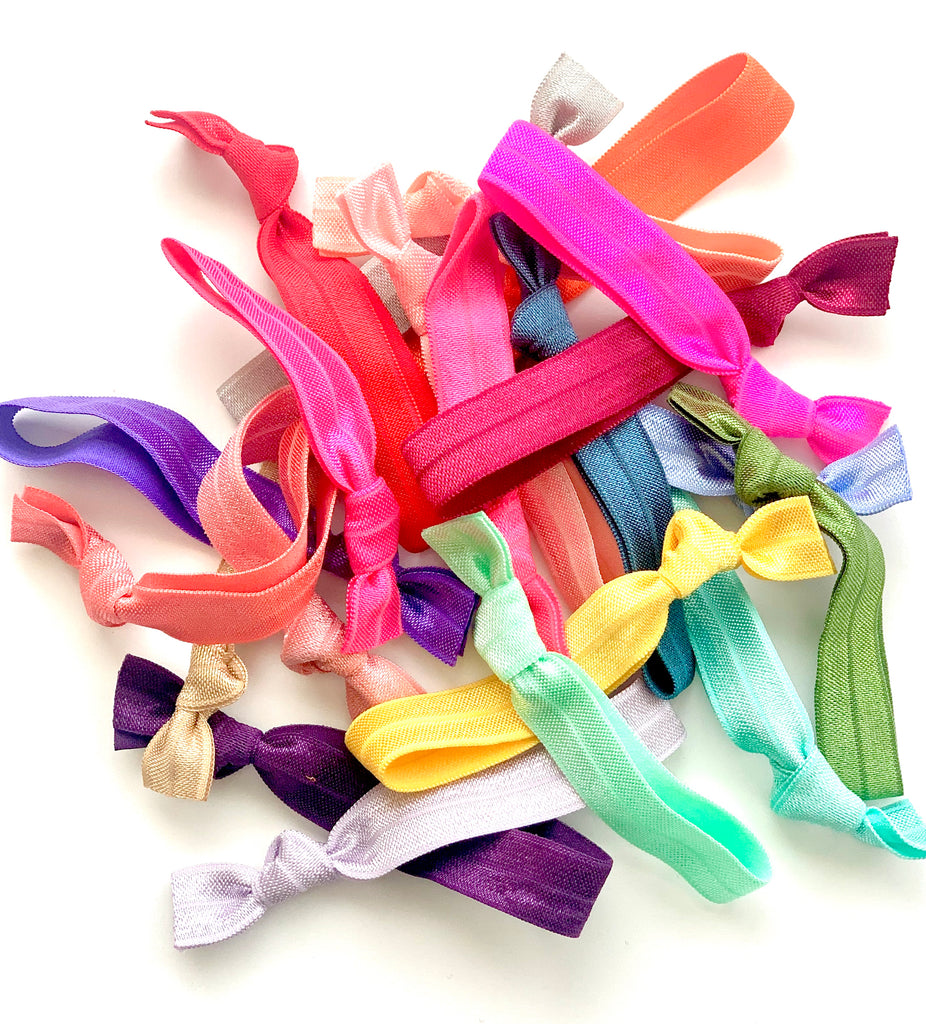 20 Assorted Solid Colored Hair Ties Ponytail Holders, Elastic Hair Ties, Elastic Hair Bands
