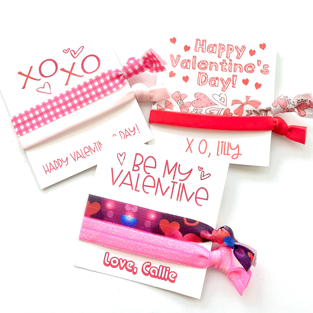 Valentine's Day Hair Tie Card |  Friend, Coworker Gifts for Her, Kids Valentines Cards, Love, Heart