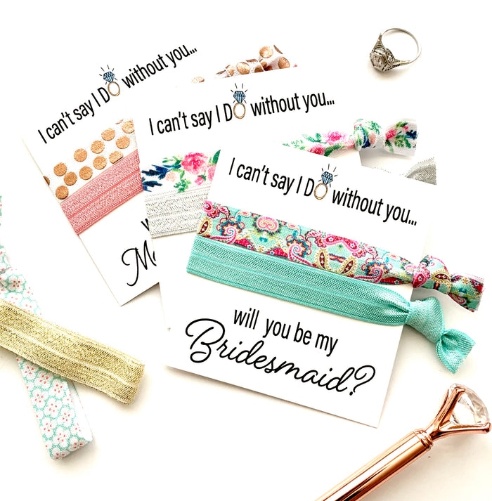 "I can't say ""I Do"" Will you help me tie the knot Bridesmaid Proposal Hair Tie Favor, Bridesmaid Proposal"