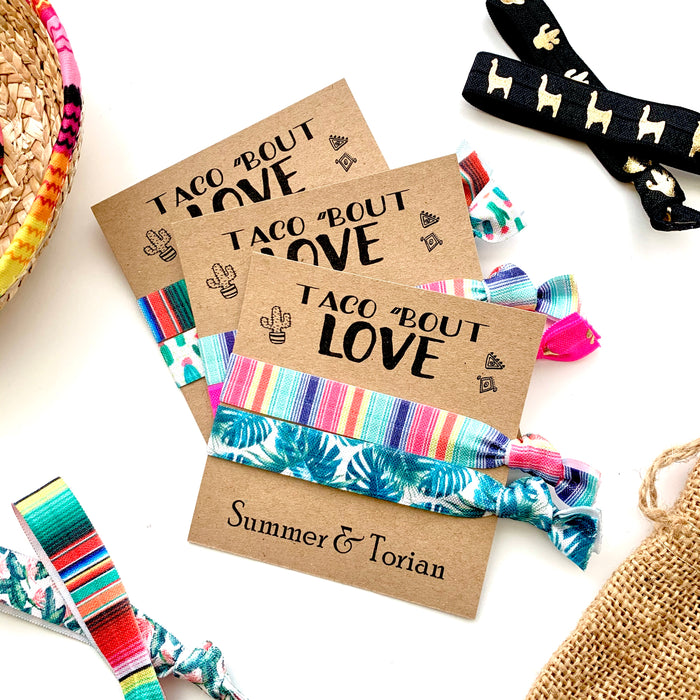 Taco bout love bachelorette wedding hair tie favors, fiesta themed wedding bachelorette bridal shower