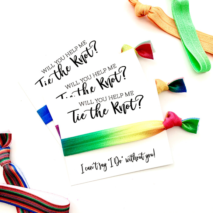 "Rainbow Will you help me tie the knot hair tie favors, bridesmaid proposal, I can't say ""I Do"" Same Sex Engagement"
