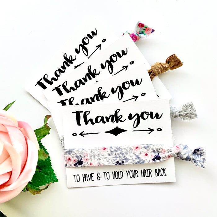 Bridesmaids Thank you hair tie favor | Bridal Party Gifts, Wedding thank you favor