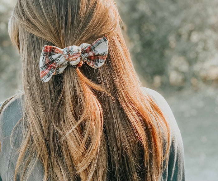Holiday Plaid Bow Scrunchies, Ponytail Bow Scrunchie