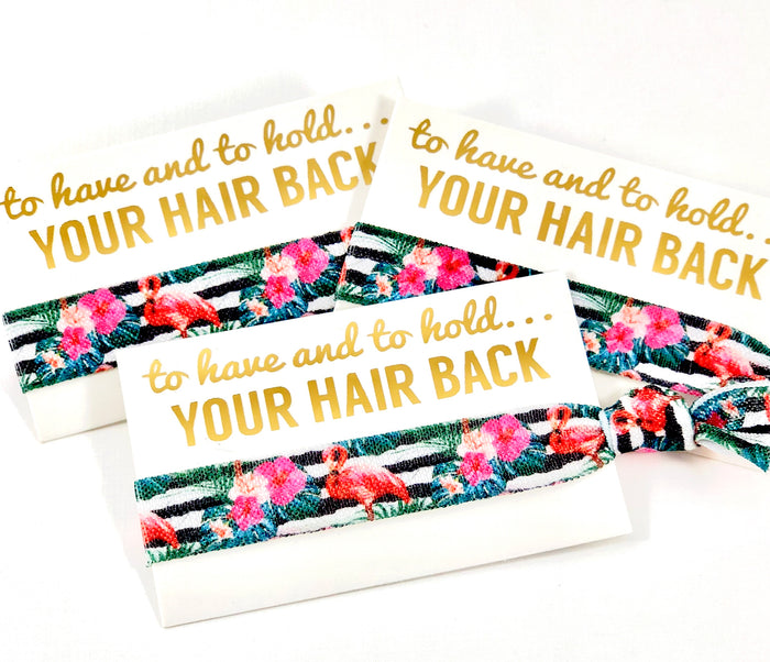 Bachelorette Hair Tie Favor - Flamingo | To Have and To Hold Your Hair Back