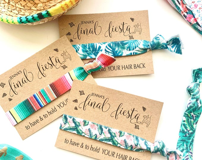 Final Fiesta Bachelorette hair tie favors, fiesta themed favor