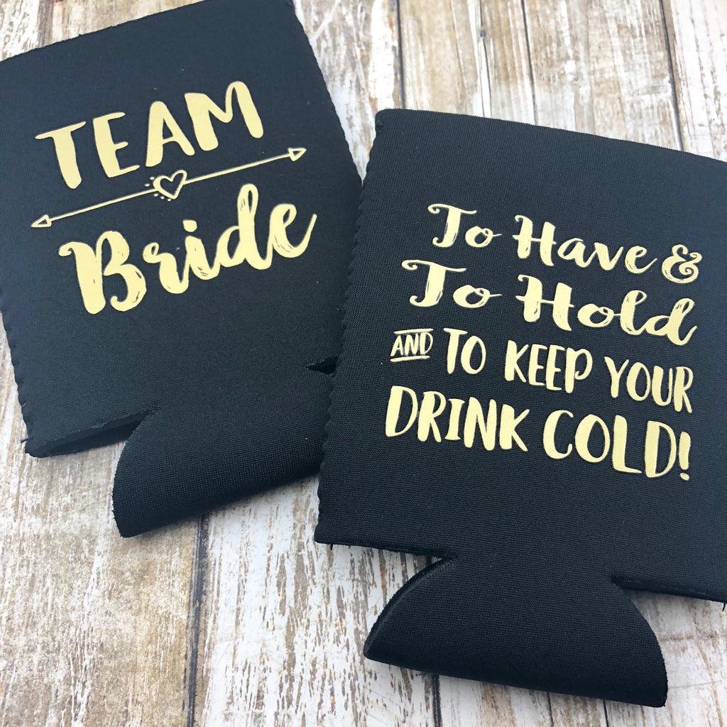 Team Bride Can Cooler & Tattoo Set, Coozie, Koozie, Drink Cooler, Bride Can Cooler, Tattoo, Team Bride Tattoo, Bride Tattoo