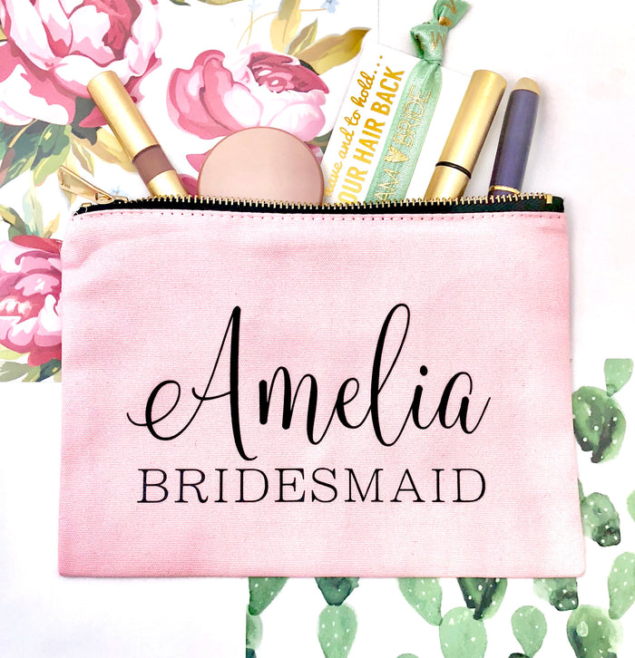 PERSONALIZED Bridesmaid Cosmetic Bag, Bridesmaid Makeup Bag - Cosmetic Bags, Girl Gang, Bride Vibes, Bridal Gift, Birthday