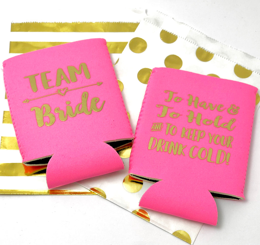 TEAM BRIDE Bachelorette Party Favor Set| Bachelorette Can Coolers + Hair Tie + Tattoos | Team Bride | To have and to hold
