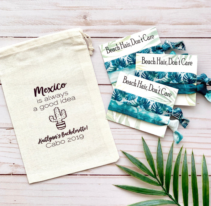 Mexico Bachelorette Hair Tie Favors  + Favor Bag | Fiesta Bachelorette, Choose Your Hair Ties, Bachelorette, Gift Bag
