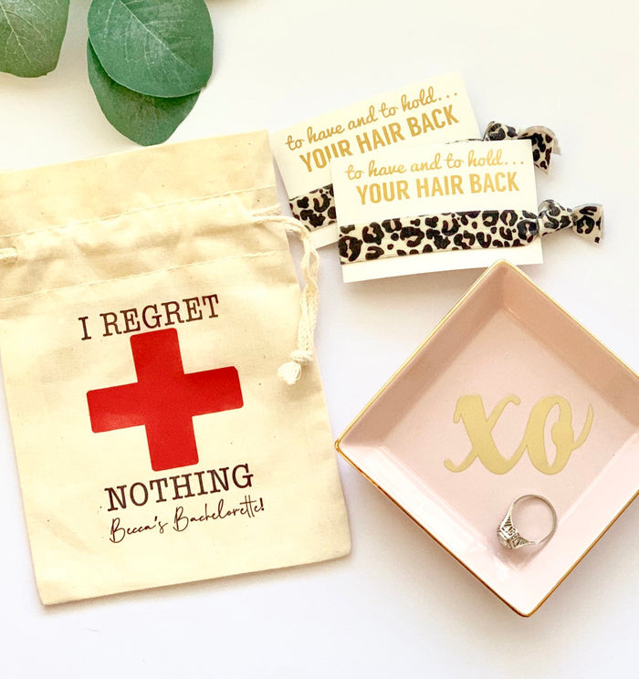 PERSONALIZED Hangover Kit Bags - I Regret Nothing Hangover Kit Bags, Bachelorette Party Favors Bag, Cotton favor bag, 5 x 7