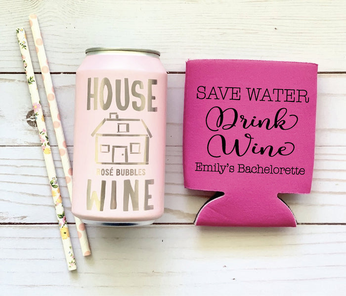 SAVE Water Drink Wine Personalized  Can Coolers,  Wine Tour, Wine Tasting Bachelorette, Bridal Shower, Drink Holder