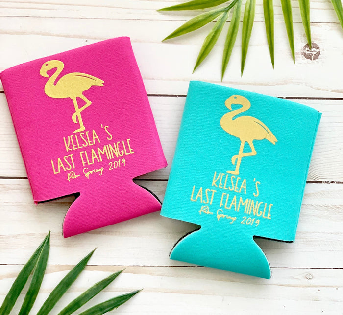Last Flamingle Personalized  Can Coolers,  Flamingo Party, Fiesta Bachelorette, Fiesta Bridal Shower, Drink Holder, Last Flamingle