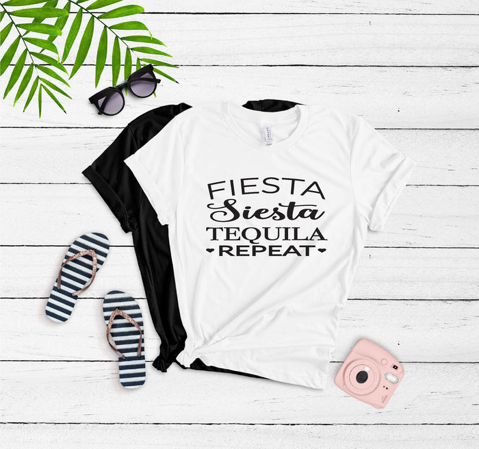 Fiesta, Siesta, Tequila, Repeat, T-Shirts, SEMI-fitted, Crew Neck, Cotton Bella Canvas