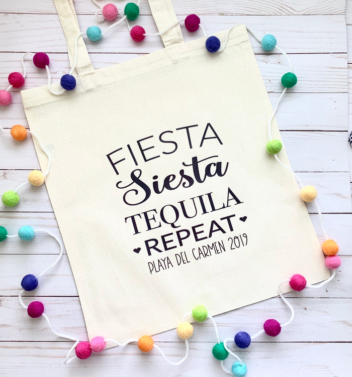 TOTE BAGS, Fiesta Siesta Tequila Repeat! Custom Canvas Tote Bag, Personalized, Nacho Average Bride, Fiesta bachelorette, Beach Bachelorette