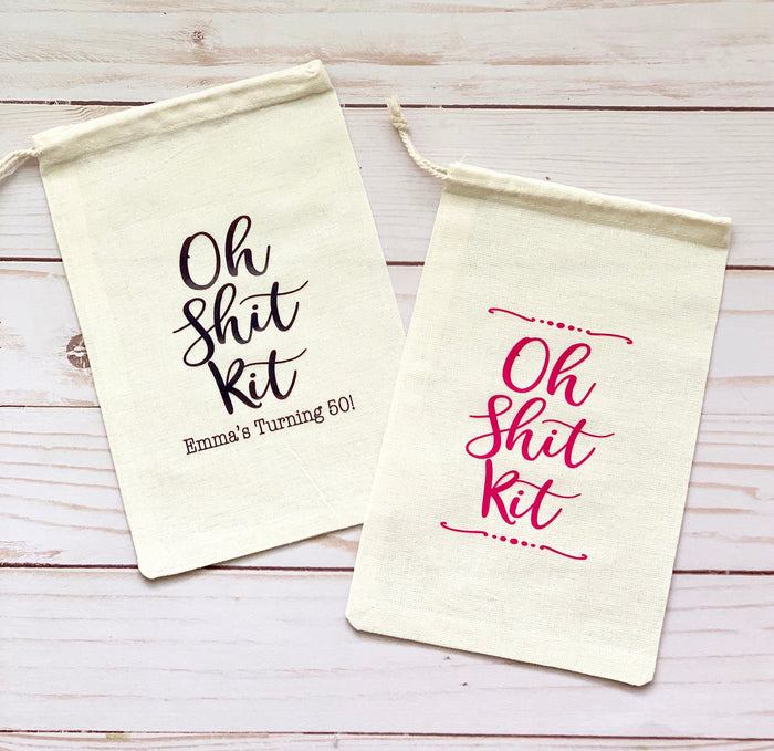 Oh Shit Kit Favor Bags, Bachelorette Favors Bags, Bachelorette, Wedding Favor Bags, Personalized Bags, Custom Favor Bags