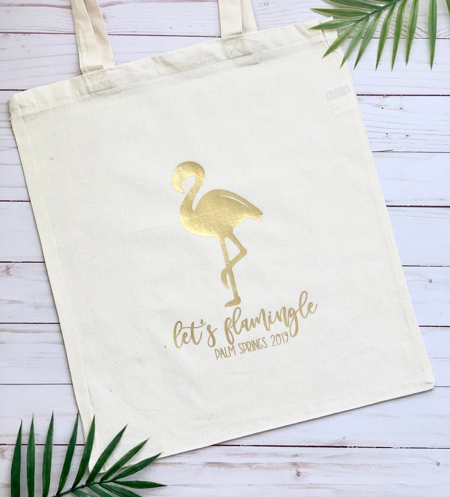Let's Flamingle Tote Bag, Bachelorette Tote, Beach Tote, Gift for Woman, Bridal party gifts, personalized tote bag, Wedding Party Gift Bag