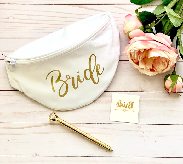 Bride Gift Set, Bride Fanny Pack, Gold Diamond Pen, Bride Tattoo, custom fanny pack, bride fanny pack, diamond pen, tattoos
