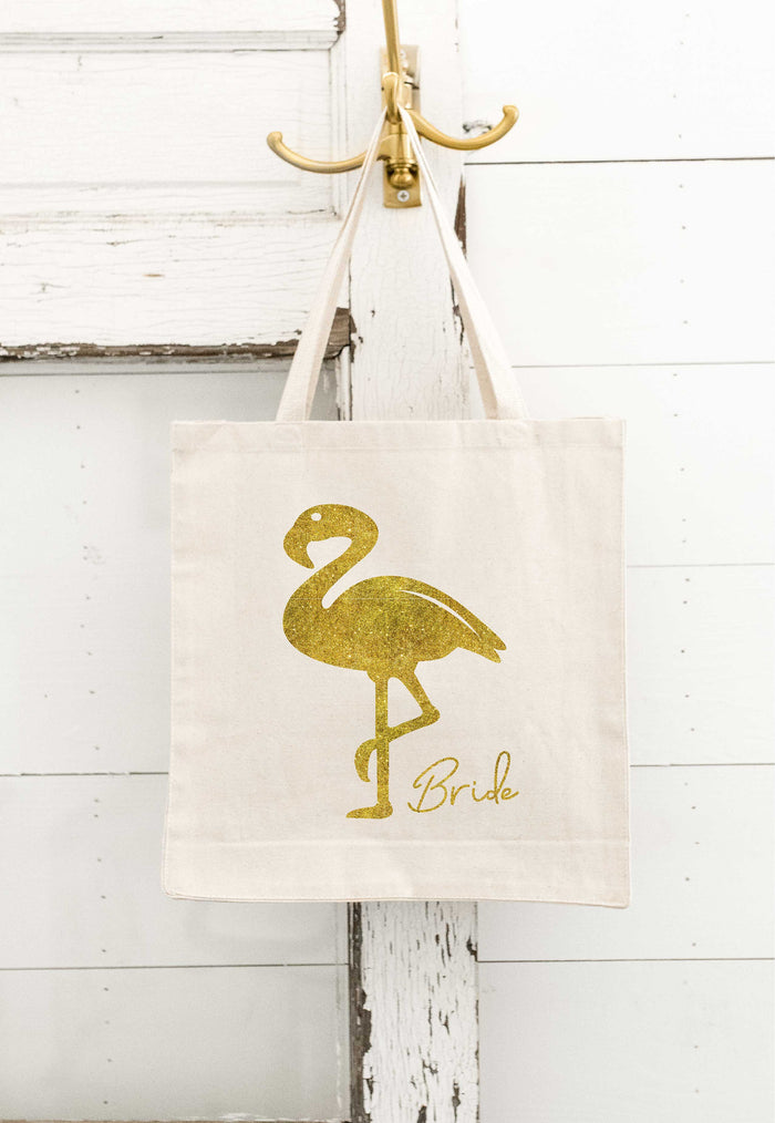 Flamingo TOTE BAGS, Personalized, Bride Gift, Bridesmaid Gift, Canvas Tote Bag, Bride Tote Bag, Fiesta bachelorette, Beach Bachelorette