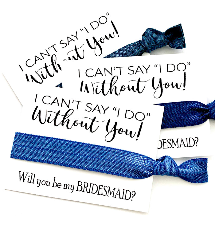 Blue Denim Bridesmaid Proposal Gift | I can't say I do without you, Maid of Honor, hair tie favor, bridesmaid gift, will you be my