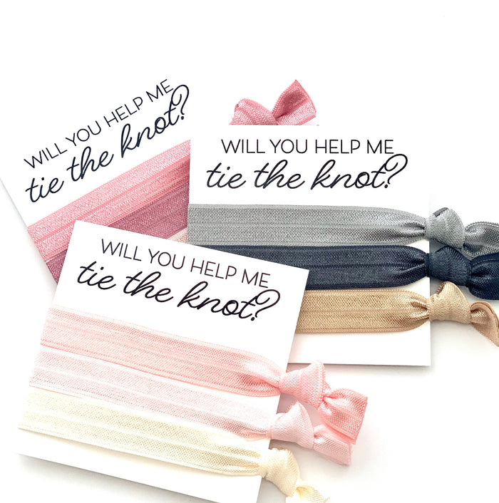 Blush Dusty Grey |  Bridesmaid Proposal Hair Tie Card Gift Wedding Party Hair Tie Favor, Ask Gift, Will you help me tie the knot, You Choose