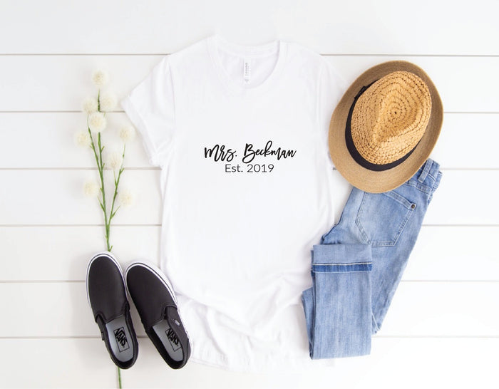 Mrs. Shirt  Est. - Bride Shirt - Bride to Be Shirt - Wifey Shirt - Bachelorette Party Shirts - Bride Gift - Gift for Bride - Honeymoon Shirt