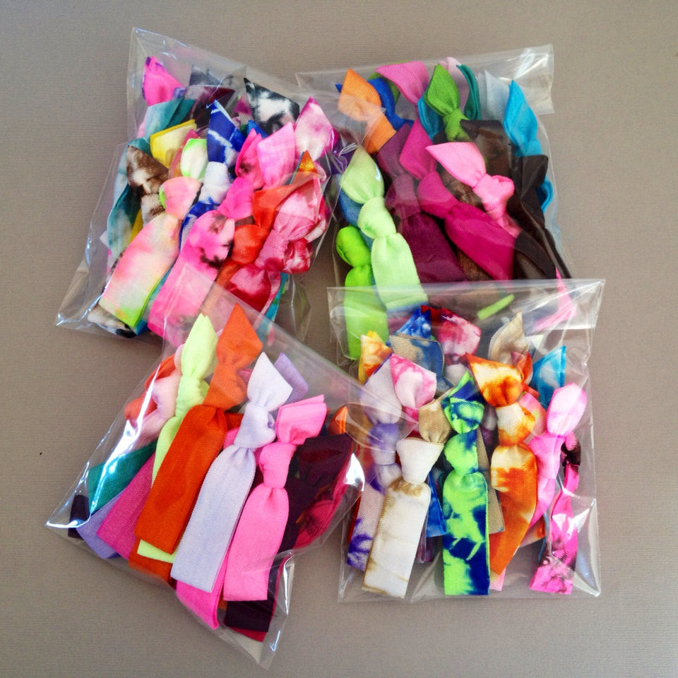 100 Assorted BULK Tie dye and Solid Hair Ties, Ponytail Holders