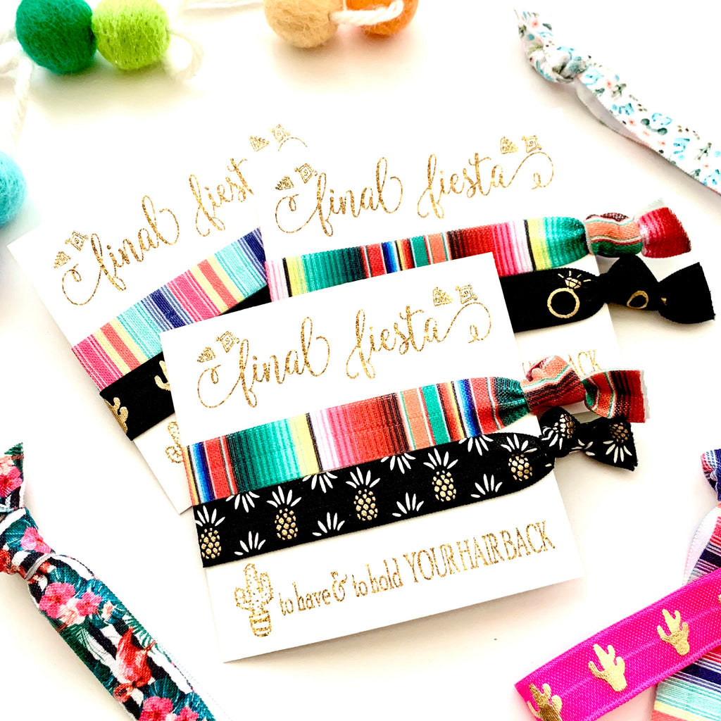 Bachelorette Party Favor, Hair Tie Favor, Final Fiesta Bachelorette, Mexico Bachelorette