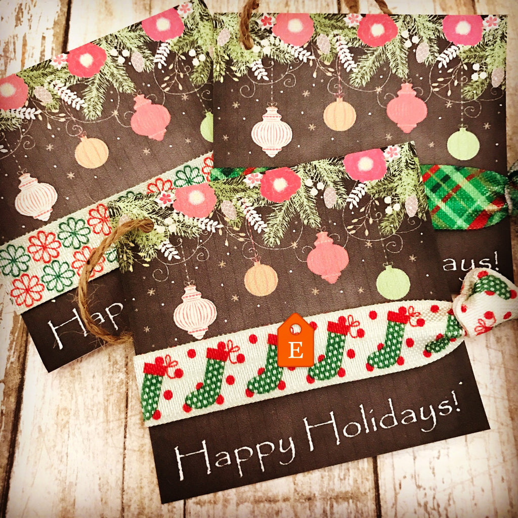 Holiday Gift Tag | Hair Tie Gift Tag | Stocking Stuffer - gift tags, holiday tag, hair tie favor, chalkboard paper