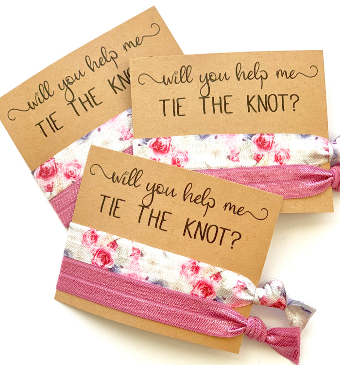 Vintage Rose Will you help me tie the knot, hair tie favors