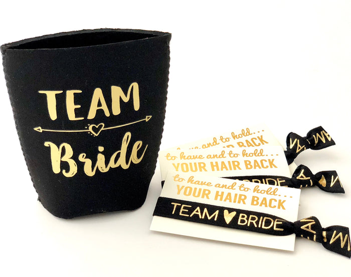 Team Bride Can Cooler + Team Bride Hair Tie, Bachelorette Party Favors