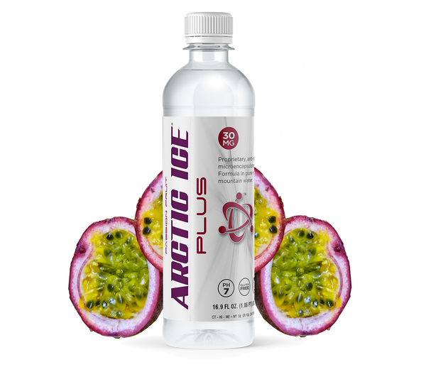 16.9oz - Arctic Ice Plus Passion Fruit Flavored Water Infused With Hemp Extract