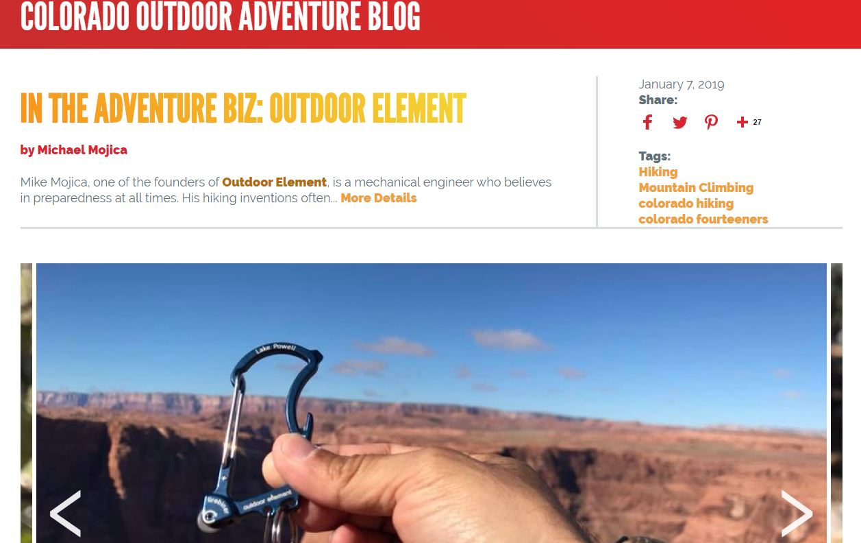 Colorado Adventure Blog featuring Outdoor Element
