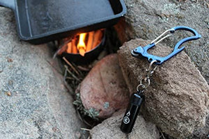 Blue firebiner with black Outdoor Element clipped to hang slot