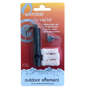 Wombat whistle vial accessory kit for firebiner black