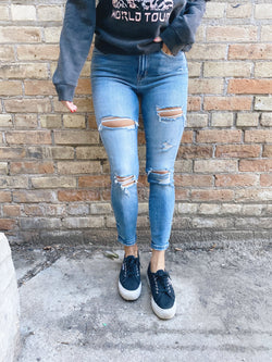 Gia High Rise Distressed Skinny