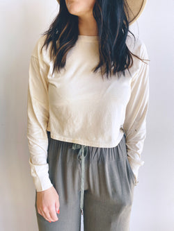 Crew Neck Crop Long Sleeve