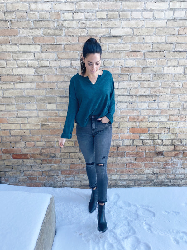 Knit Top Reverse Seam Accent Sweater