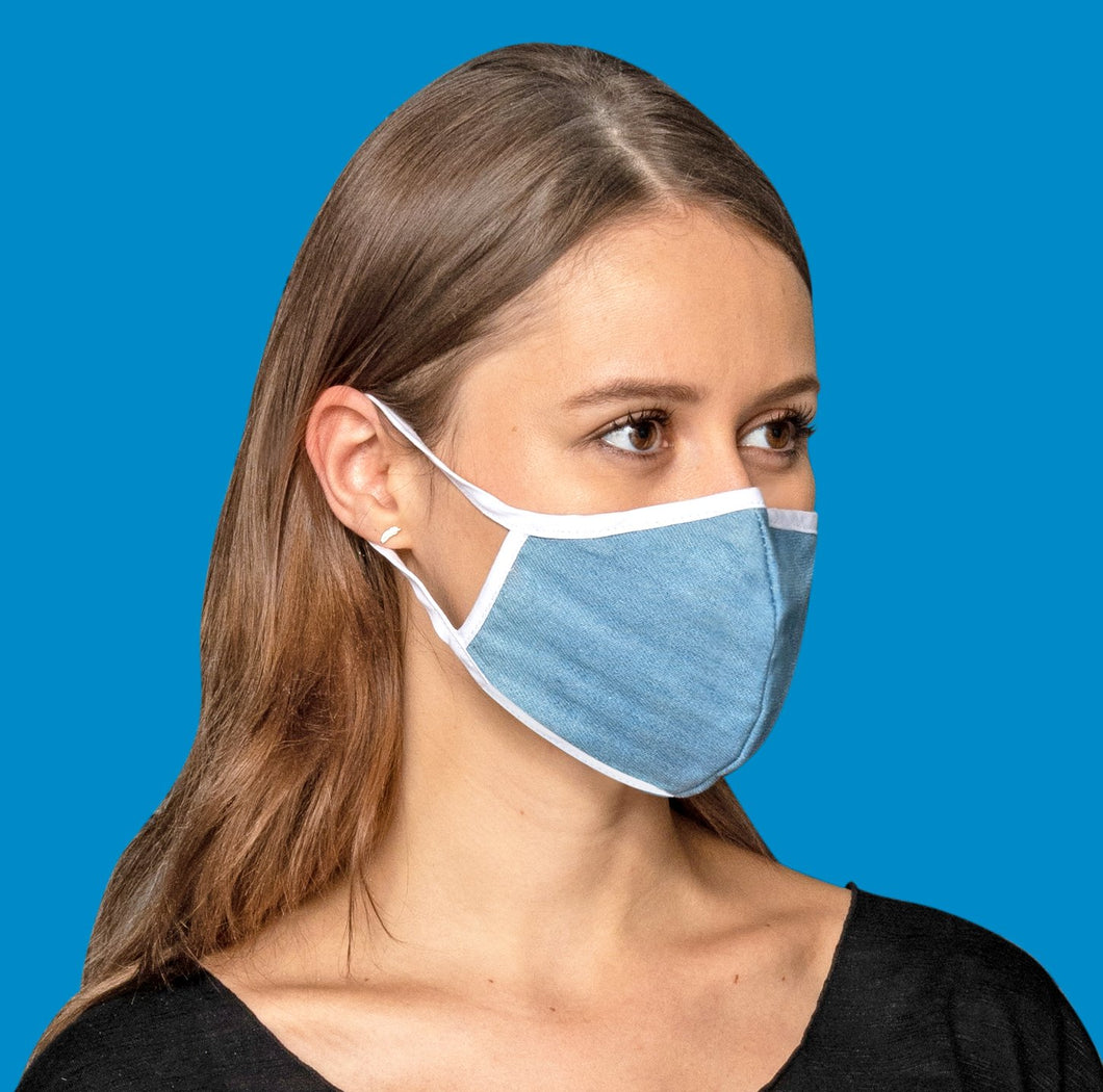 Light Blue Cotton Mask + KN95 Filter BOOSTER