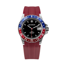 ABYSS - BlueRed with red rubber strap