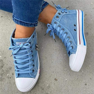 Women's Denim High-Top Back Lace-p design canvas shoes