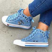 Load image into Gallery viewer, Women's Denim High-Top Back Lace-p design canvas shoes