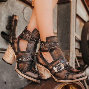 Women's  Vintage Western Leather Cutout Buckle Casual Short Boots