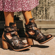 Load image into Gallery viewer, Women's  Vintage Western Leather Cutout Buckle Casual Short Boots