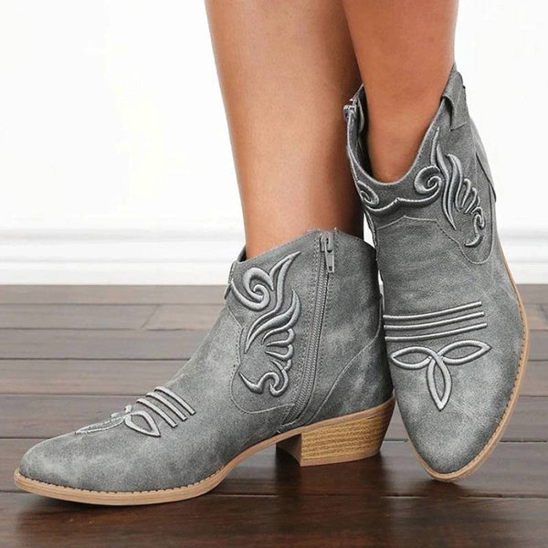 Women's Retro Embroidery Pointed Toe Zipper Low Heel Boots
