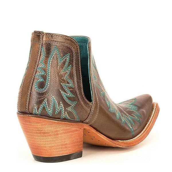 Women's Leather Block Heel Western Boots