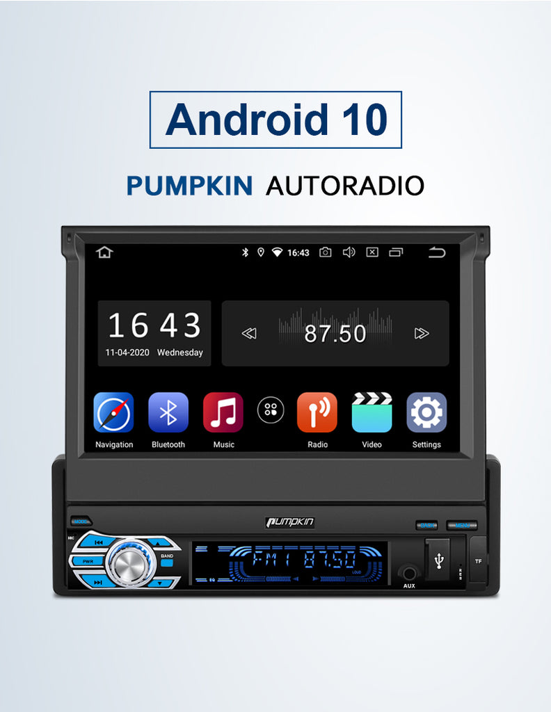 "Pumpkin 7 ""Din 1 Android 10 Flip-Out-Touchscreen Autoradio mit 2GB RAM and 32GB ROM"